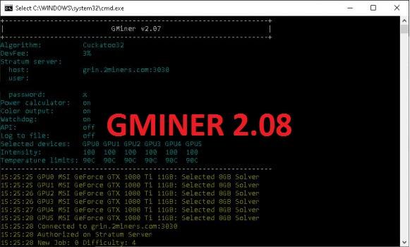 GMiner v2.08: fixed bug in RTX 2080 Ti for cuckatoo32 algorithm