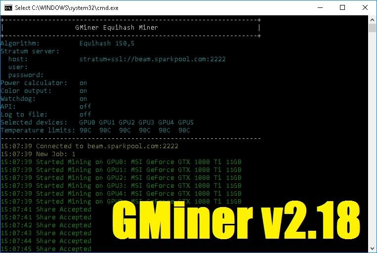 GMiner v2.18: With improved Cuckarooz29 on RTX (NVIDIA/AMD)