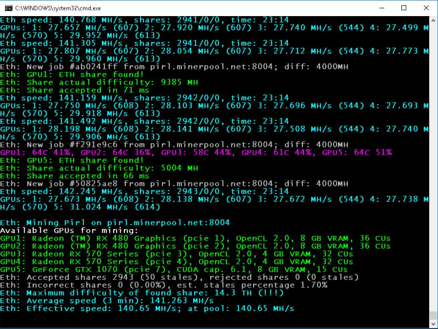 PhoenixMiner 5.1c: самый быстрый майнер Ethash с минимальным DevFee (Win/Linux)