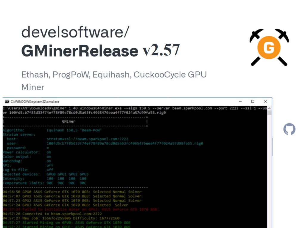 GMINER v2.57: Download GPU Miner Ethash, ProgPoW, KAWPOW, Equihash, CuckooCycle